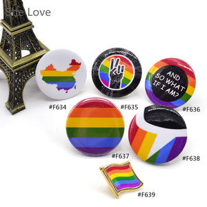 LGBT Pride Rainbow Flag Pinback Button Badge Support Gay Lesbian Symbol Pin