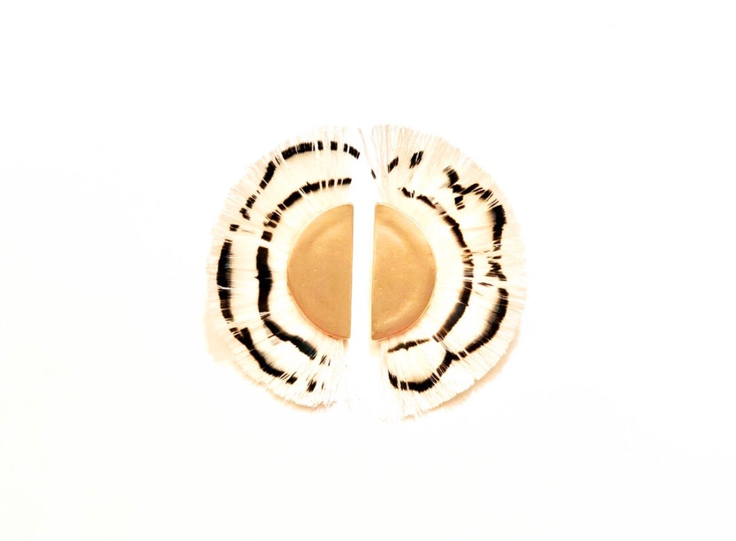 Feather and Gold Statement Stud