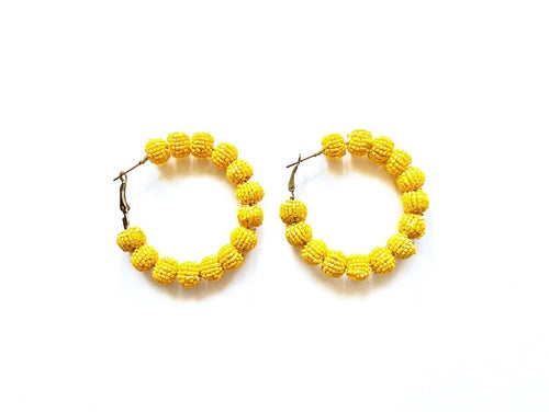 Beaded Yellow Hoop