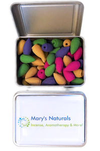 Mary's Naturals® Mixed 80-Pc Big Backflow Incense Cones in Decorative Tin - Mary's Naturals