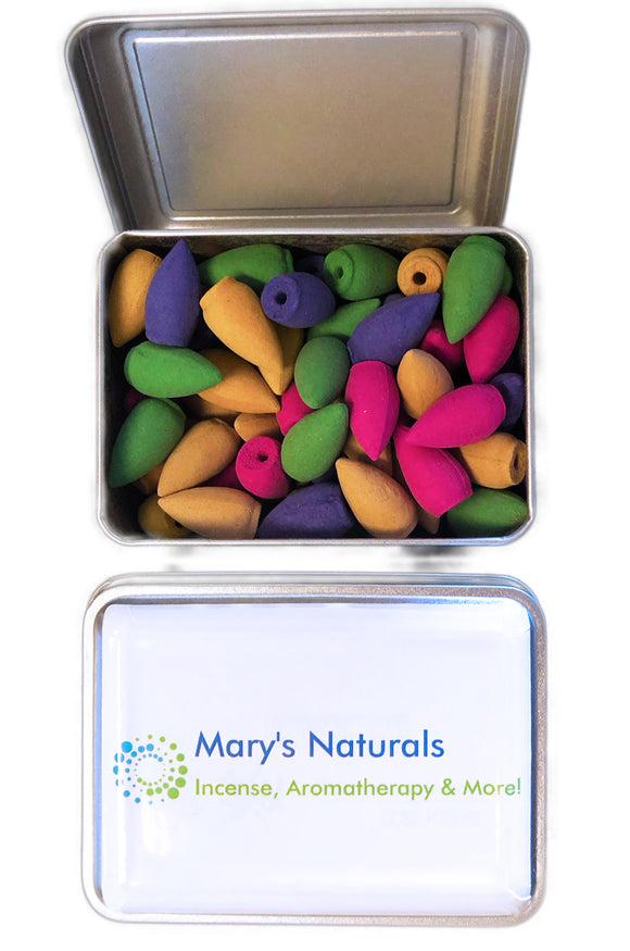Mixed 80-Pc Big Backflow Incense Cones in Decorative Tin - Mary's Naturals