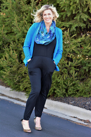 Sarah Liller Jumpsuit and Dyetology Infinity Scarf