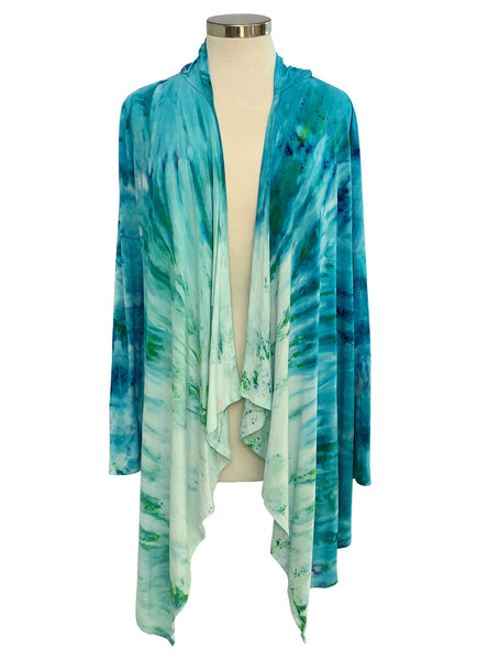 dyetology drape front hoodie in shades of aquas and blues