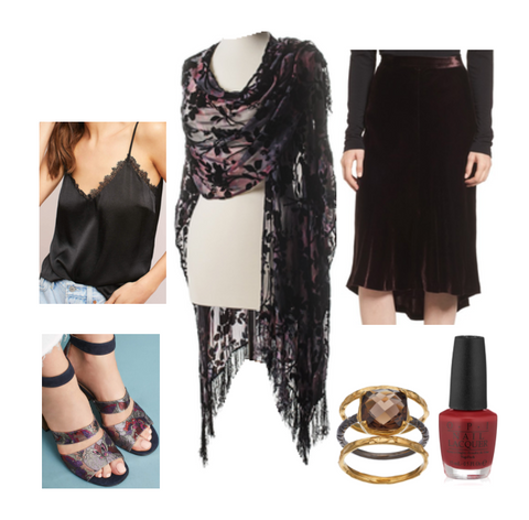 Very Velvet Outfit: Dyetology BUrn-Out Fringed Shawl, Anthropologie Black Lace Camisole, Velvet Nordstrom Skirt, Mosaic Heels by Anthropologie, Olive and Ivy Ring, and Deep Red Nailpolish by OPI