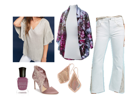 Winter Whites Outfit: Elektra Shawl Scarf by Dyetology, Metallic V-Neck Top by Vanessa Virginia, White Sequin Flar Jeans by Pilcro, Mauve Heels by Vince Camuto, Kendra Scott Pearl Earrings, Dark Pink Nailpolish by Deborah Lippman