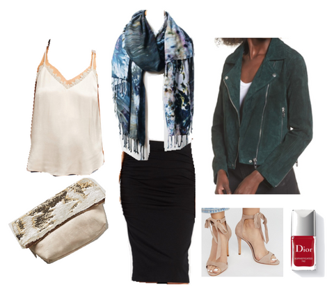 "Edgy Evergreen Outfit: ""Dyetology"" Burn-Out Blanket Scarf with Fringed Ends, Evergreen Green Suede Nordstrom Jacket, Black Pencil Skirt from Evereve, White Lace-Necked Cami from Anthropologie, ""Free People"" Nude Heels,Anthropologie Clutch and Red Nailpolish from Dior"