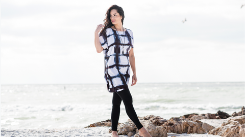 dyetology hand dyed black and white tunic