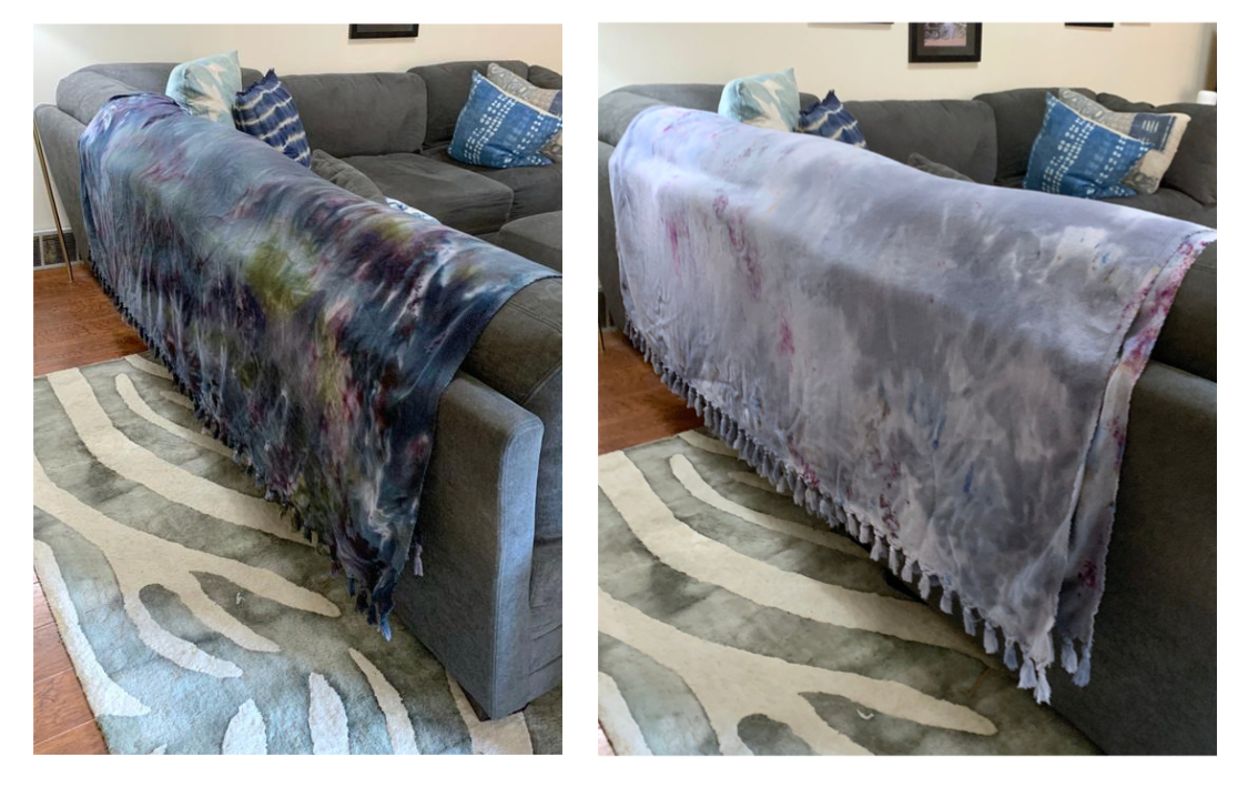 hand dyed oversized cotton blanket by dyetology