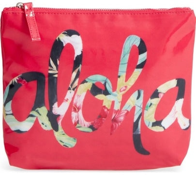 "Red Water-Resistanat Pouch with Pink, Red, Yellow, Green, Blue and Black Flowered ""ALOHA"""