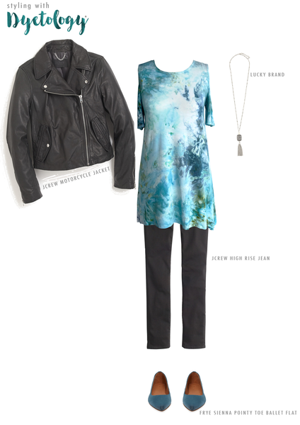dyetology outfitting idea with our cold shoulder tie dye top