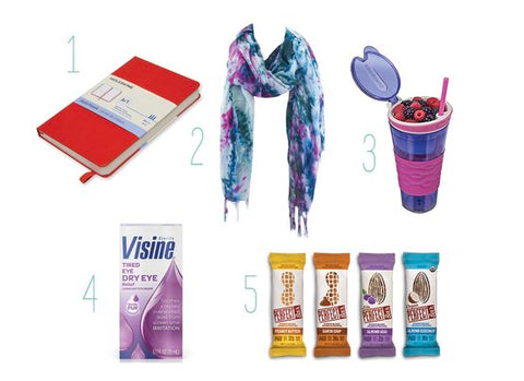 1. Red Journal 2. Open Weave Rayon Scarf with Shades of Blue, Purple, and Aqua 3. Purple Cup with Snack Compartment 4. Visiline Dry Eye Solution 5. Perfect Bar Snacks