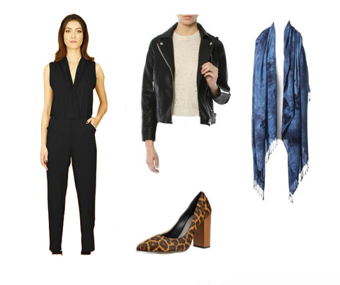 Date Night Outfit: Dyetoogy Black and Gray Blanket Sarf Worn Unwrapped, Black Sarah Liller Jumpsuit, Black Leather Jacket by Clover on High and Leopard Pring Heels by Evereve