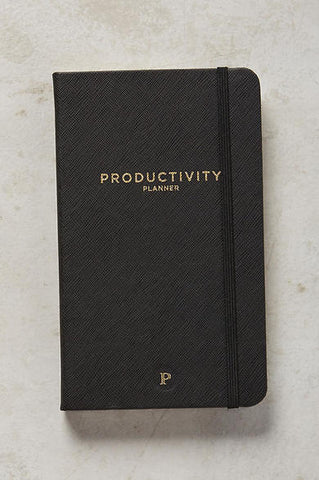 Black with Gold Lettering Productivity Planner