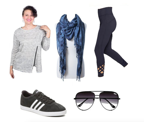 Side Line SuperStar Outfit: Dyetology Black and Gray Blanket Scarf Worn Wrapped, Happy Go Lucky Gray and White Top, Black Leggings by Athleta, Black Adidas Sneakers with Sunglasses by Quay