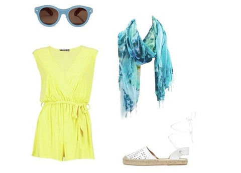 summer outfit idea with a romper, Dyetology Scarf, and sandal