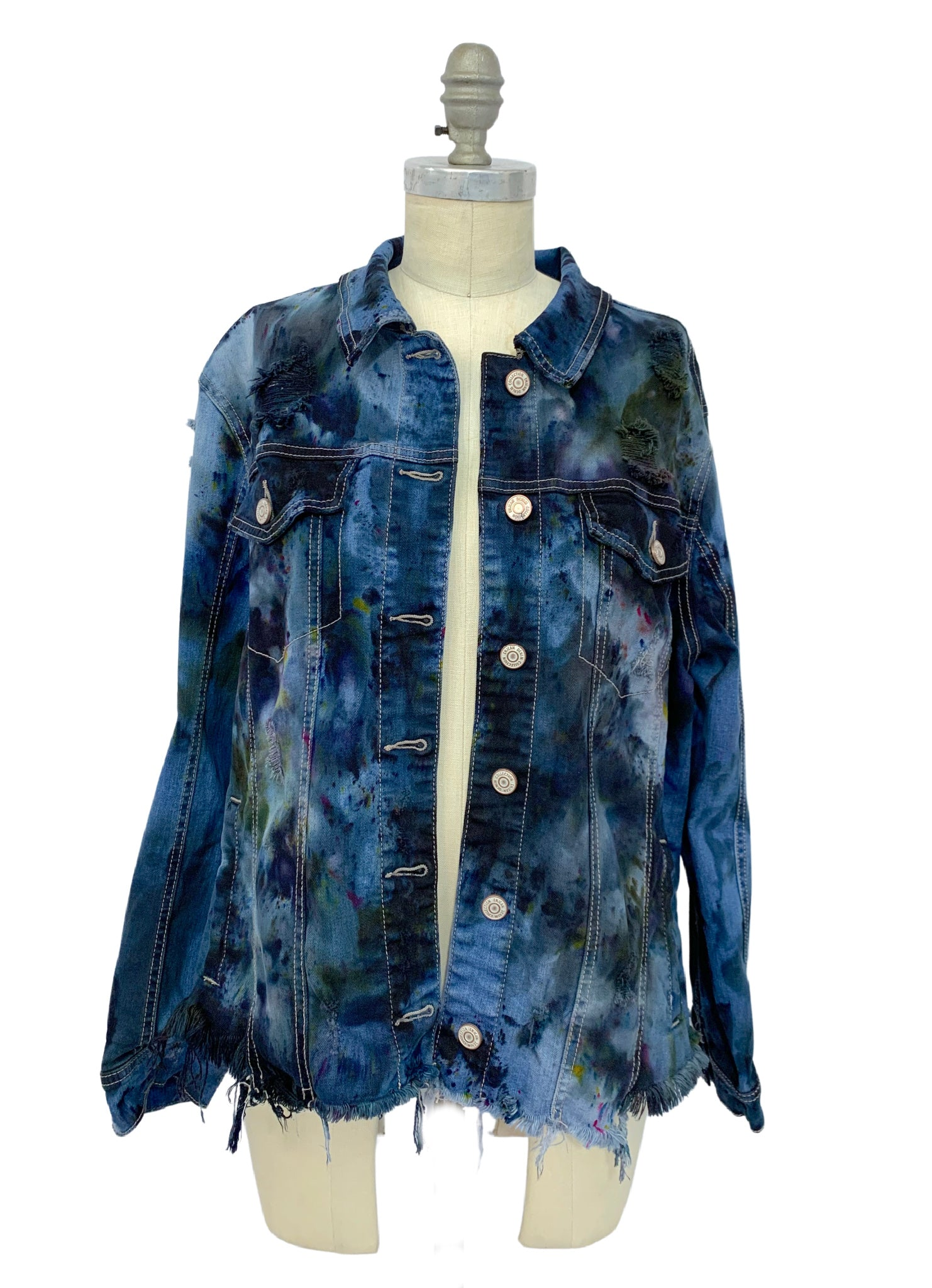 Hand-Dyed Distressed Denim Jacket in