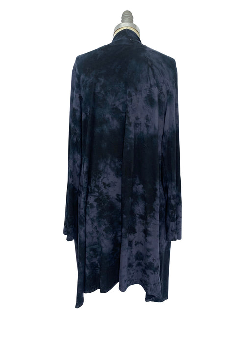 Hand Dyed Drape Front Jacket in Black and Gray - Top - Dyetology
