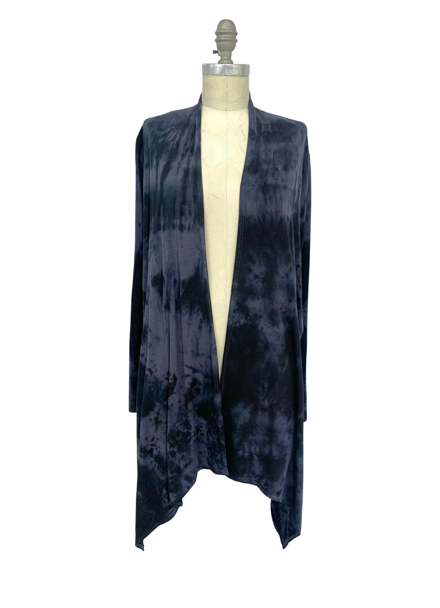 Hand Dyed Drape Front Jacket in Black and Gray