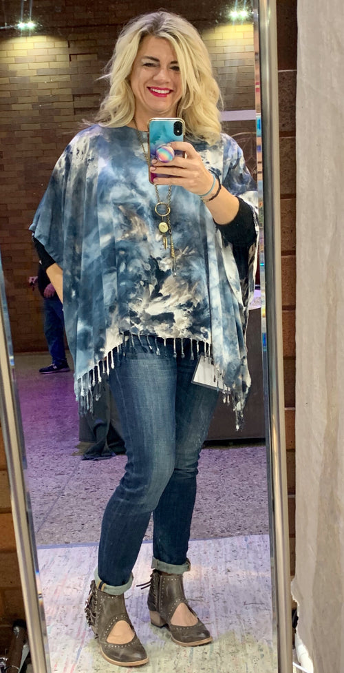 Rayon Fringed Poncho in Moon Stone
