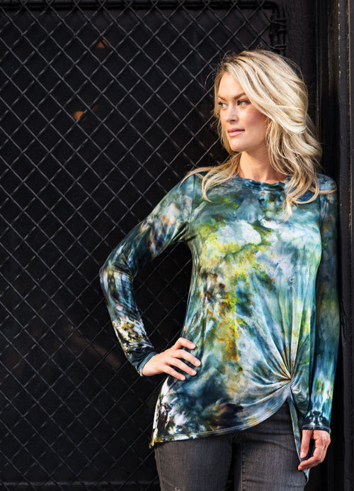Long Sleeve Knotted Tee in Woodland Camo - Top - Dyetology