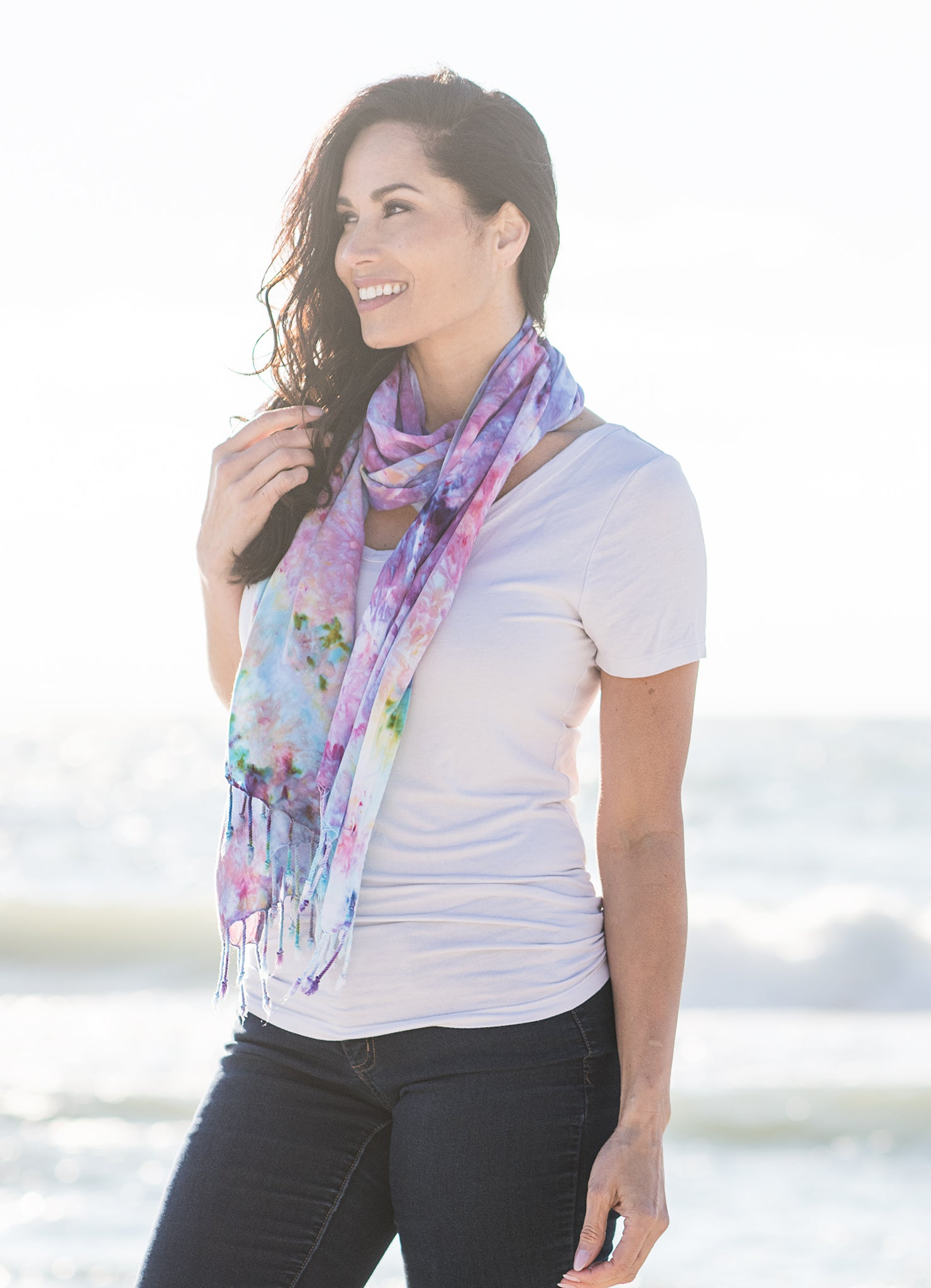 Oblong Scarf with Fringe in Cotton Candy -  - Dyetology