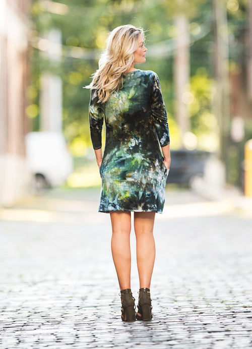 Knit Dress with Pockets in Woodland Camo - Dress - Dyetology