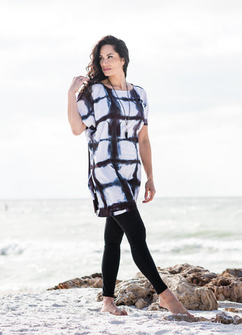 V Neck Tunic in Black Iris