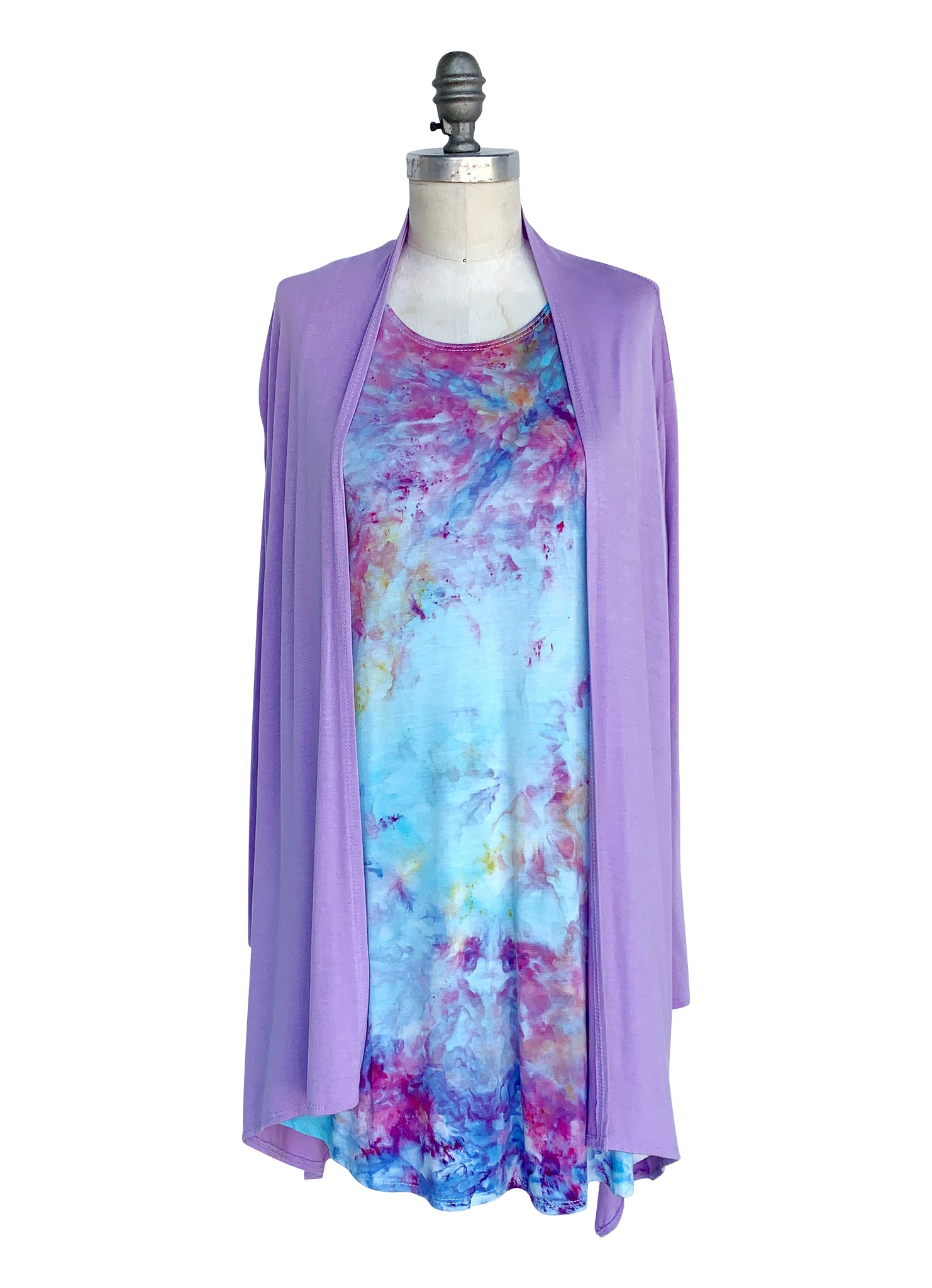 A-Line Tunic Tank and Drape Front Jacket Bundle in Lavender-Cotton Candy - Top - Dyetology