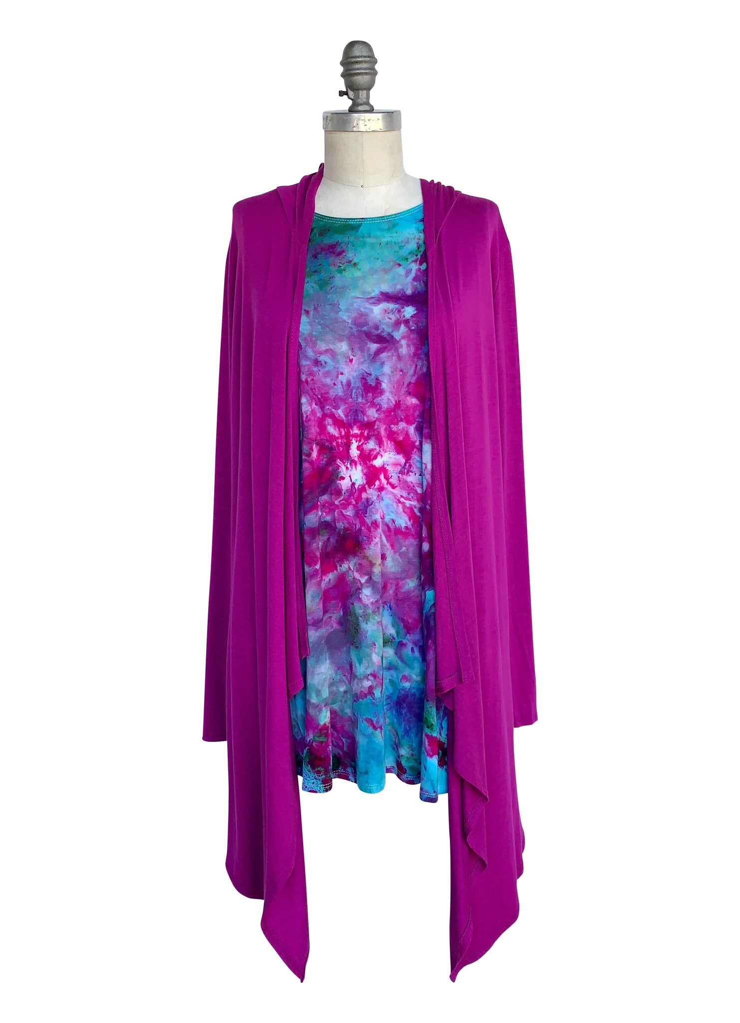 A-Line Tunic Tank and Drape Front Hoodie Bundle in Magenta-Confetti - Top - Dyetology