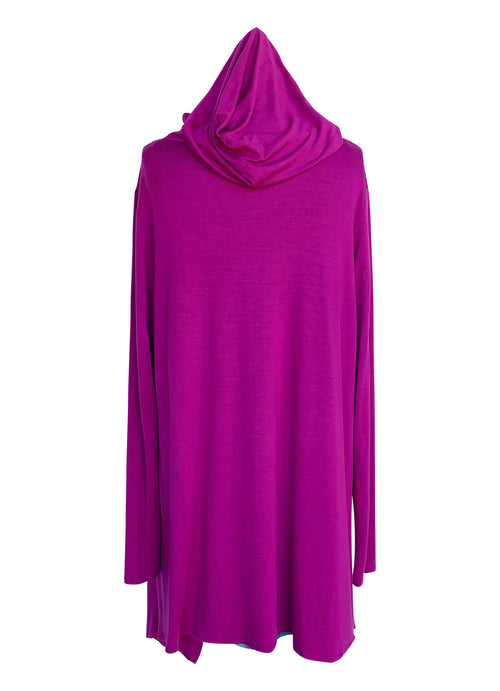 Drape Front Hoodie in Solid Magenta - Top - Dyetology