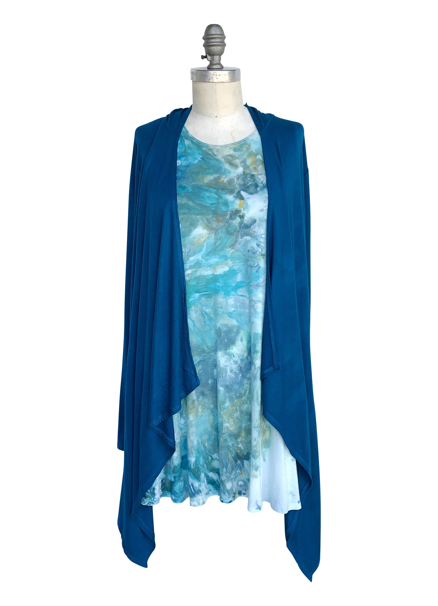 A-Line Tunic Tank and Drape Front Hoodie Bundle in Teal-Sea Glass - Top - Dyetology