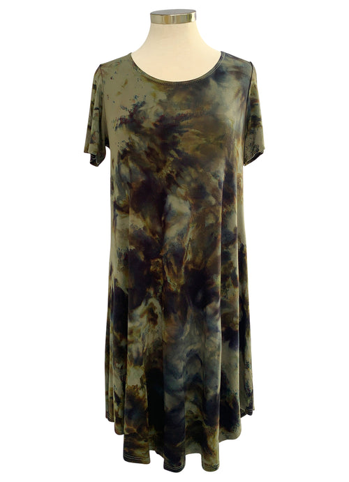 The Perfect Short Sleeve Dress in Olive and Black - Dress - Dyetology
