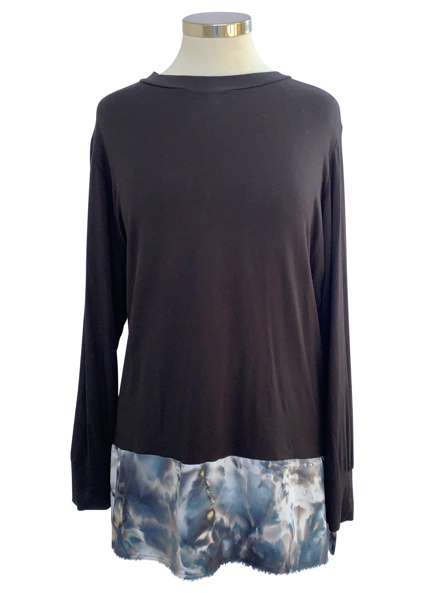 Mixed Fabric Tunic - Top - Dyetology