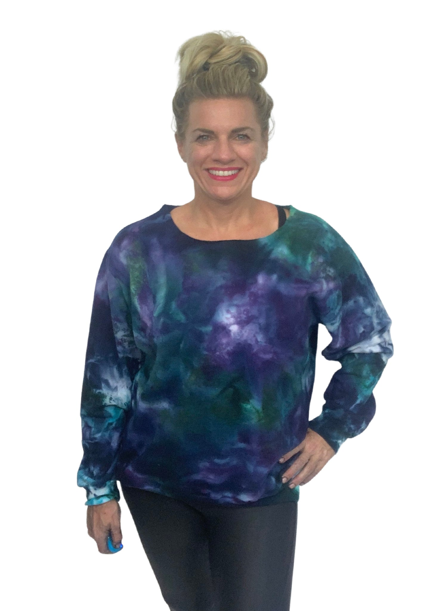 Hand Dyed Perfect Sweatshirt in Teals & Purples - Limited Release