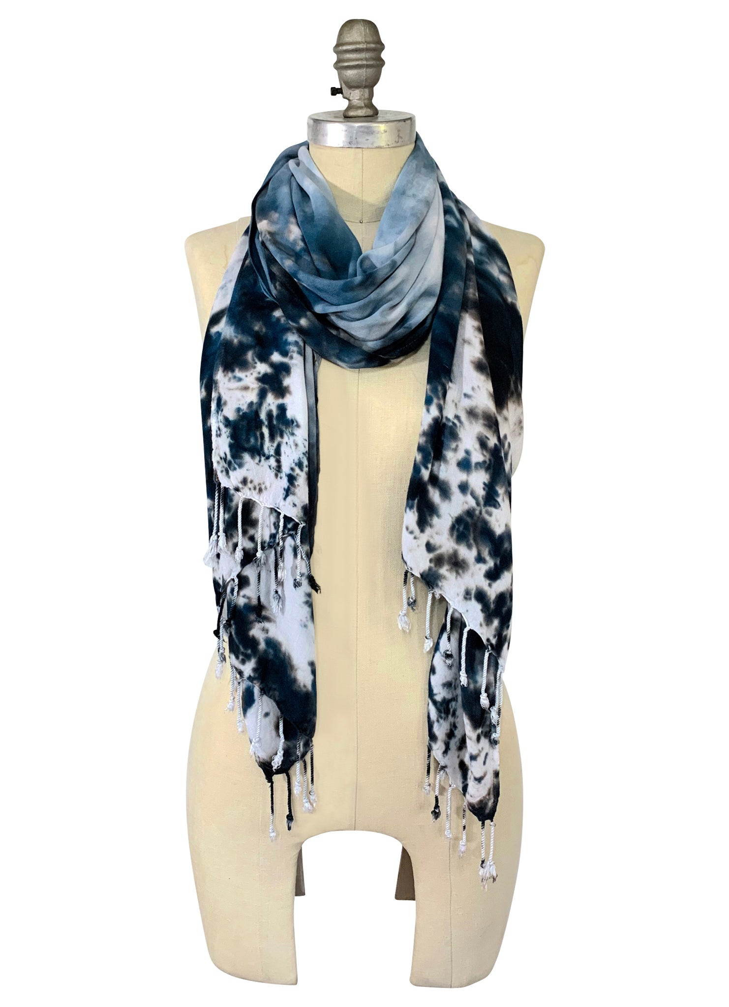 Oblong Scarf with Fringe in Moon Stone -  - Dyetology