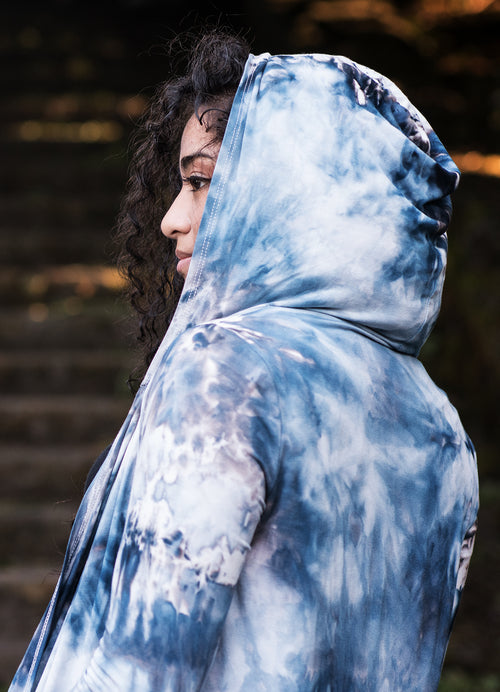 Hand Dyed Drape Front Hoodie in Moon Stone - Top - Dyetology