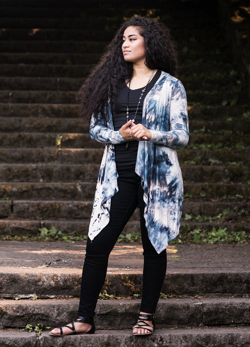 Hand Dyed Drape Front Hoodie in Moon Stone - Dyetology