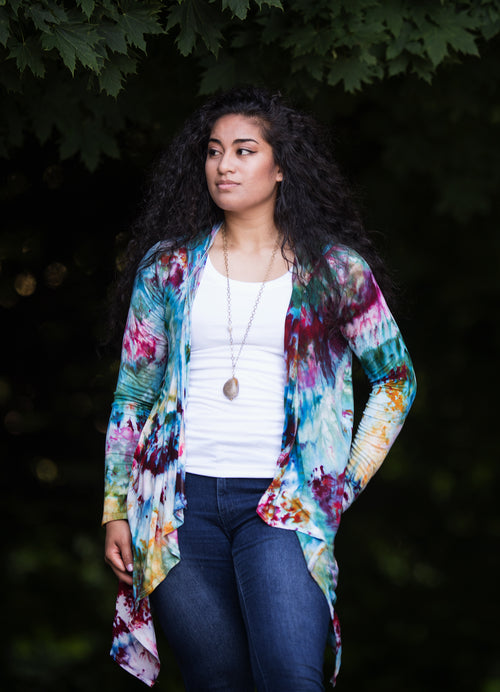 Drape Front Hoodie in Mosaic - Top - Dyetology