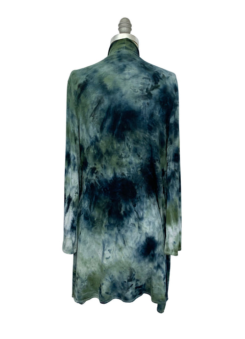 Hand Dyed Drape Front Jacket in Olive and Black - Top - Dyetology