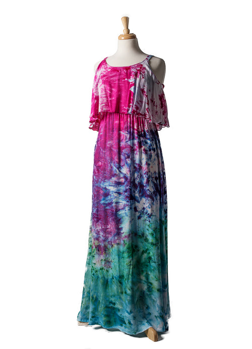 Peacock Ombre Flounce Maxi Dress - Dress - Dyetology