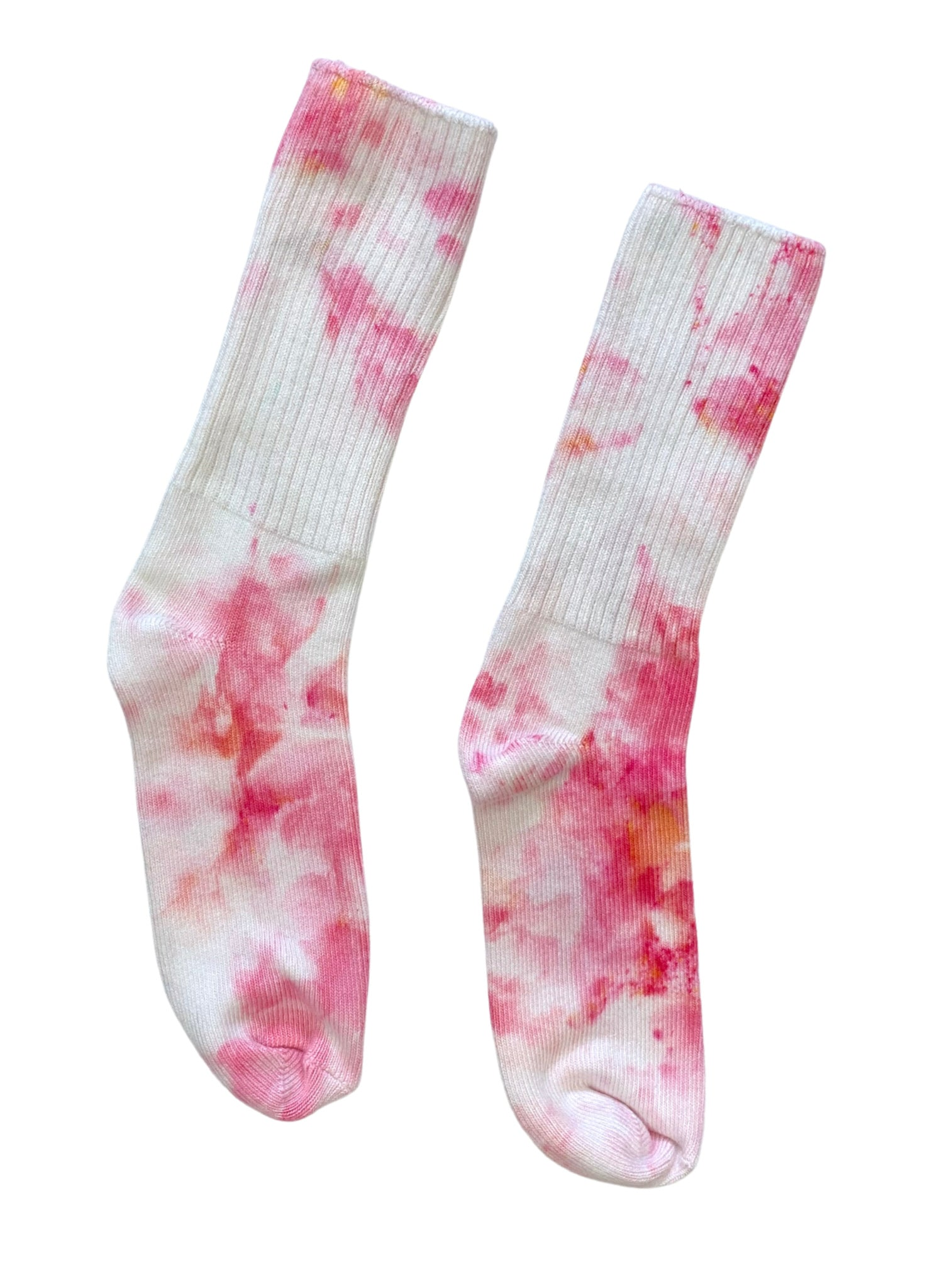Hand Dyed Bamboo Rayon Crew Socks - Pinkie Panther - Dyetology