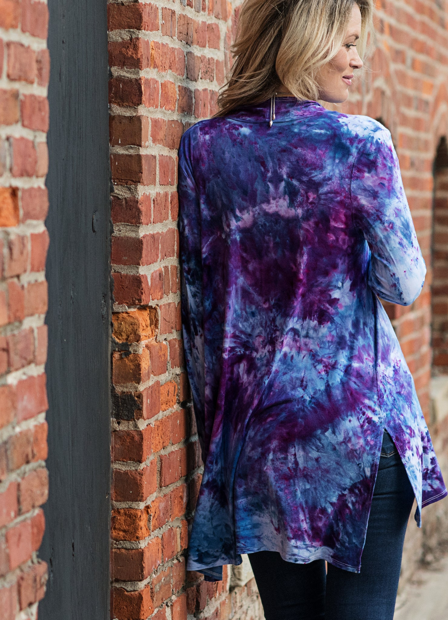 Long Open Jacket in Perfect Purple - Top - Dyetology