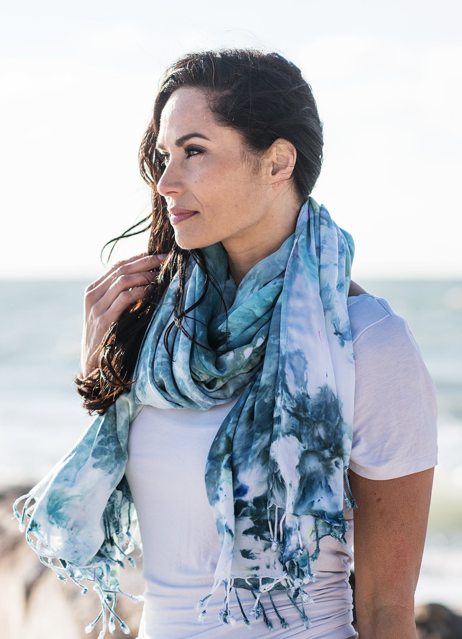 Hand Dyed Blanket-Sarong Scarf in Sea Glass - Dyetology