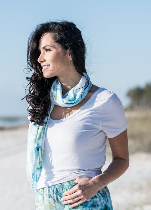 Oblong Scarf with Fringe in Sea Glass -  - Dyetology