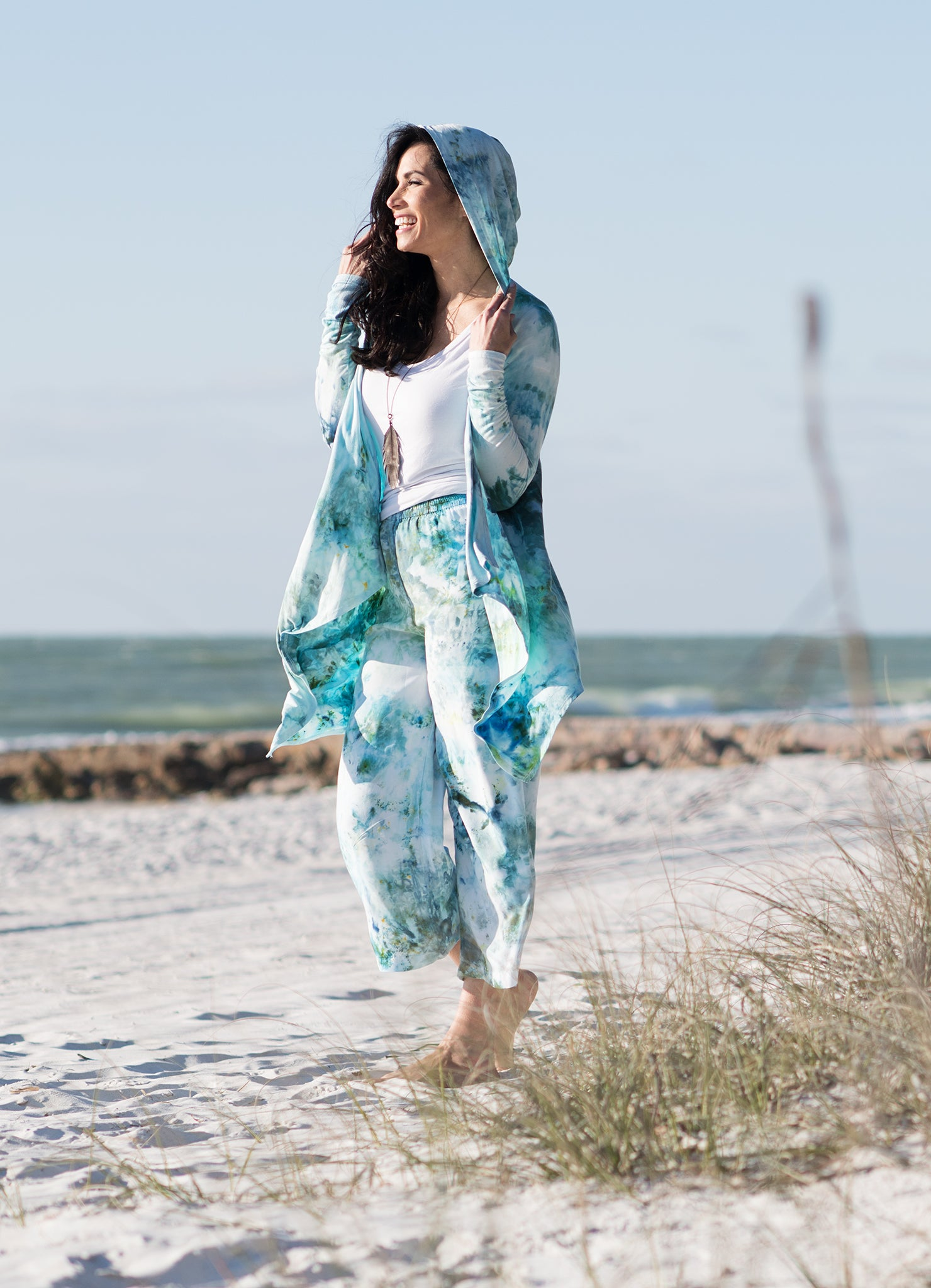 Drape Front Hoodie in Sea Glass - Top - Dyetology