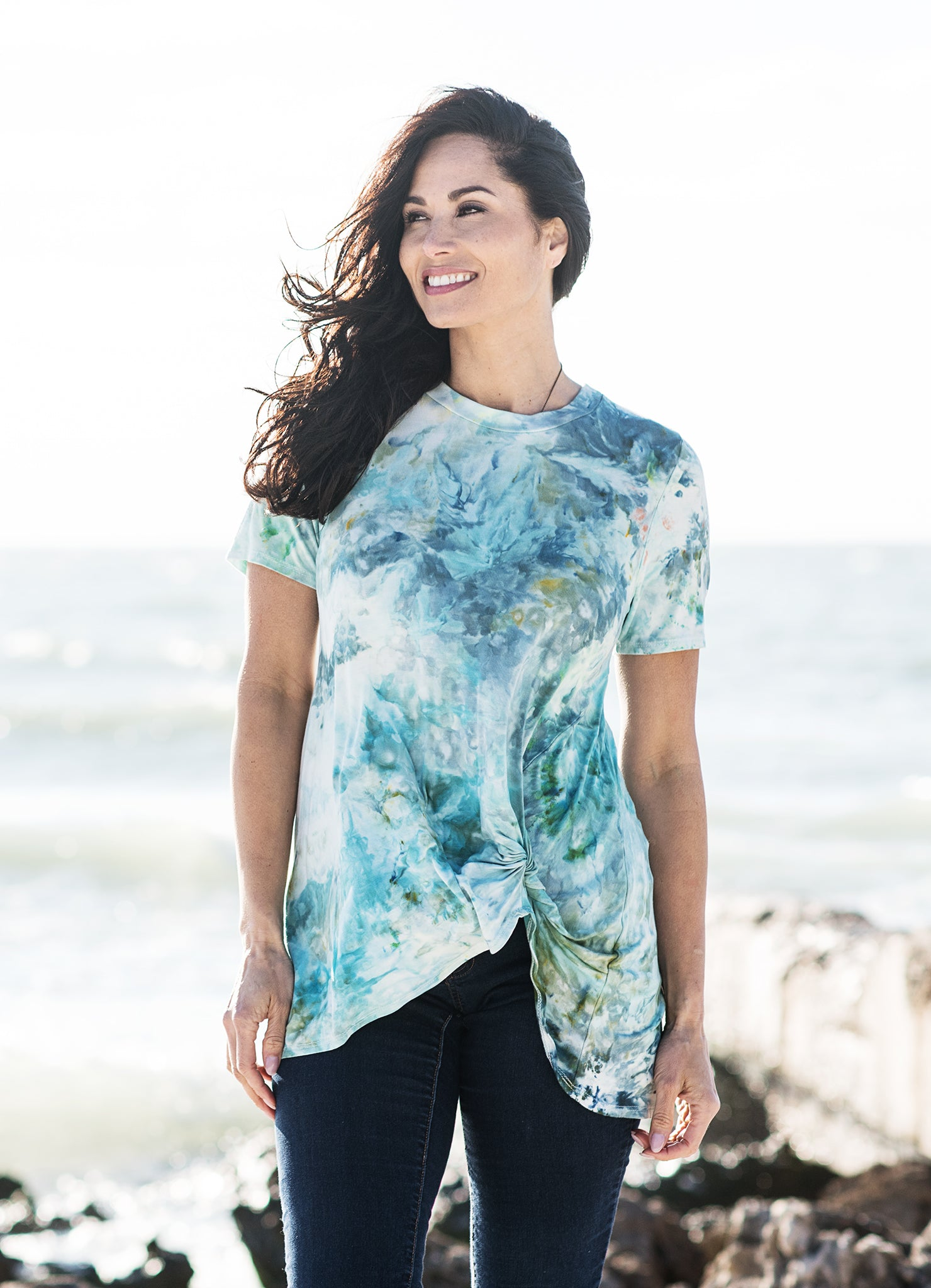 Short Sleeve Knotted Tee in Sea Glass - Top - Dyetology