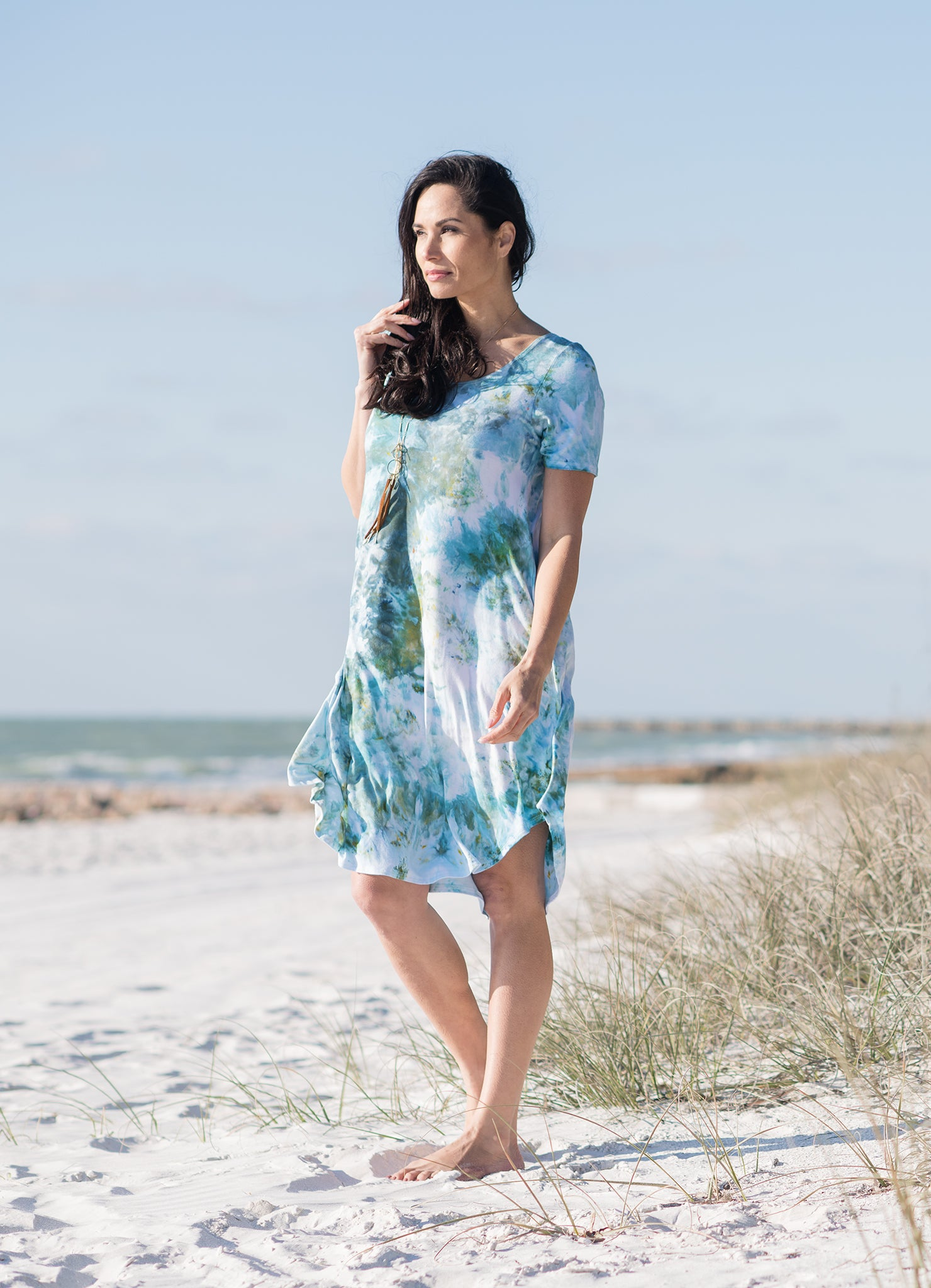 The Perfect Short Sleeve Dress in Sea Glass - Dyetology