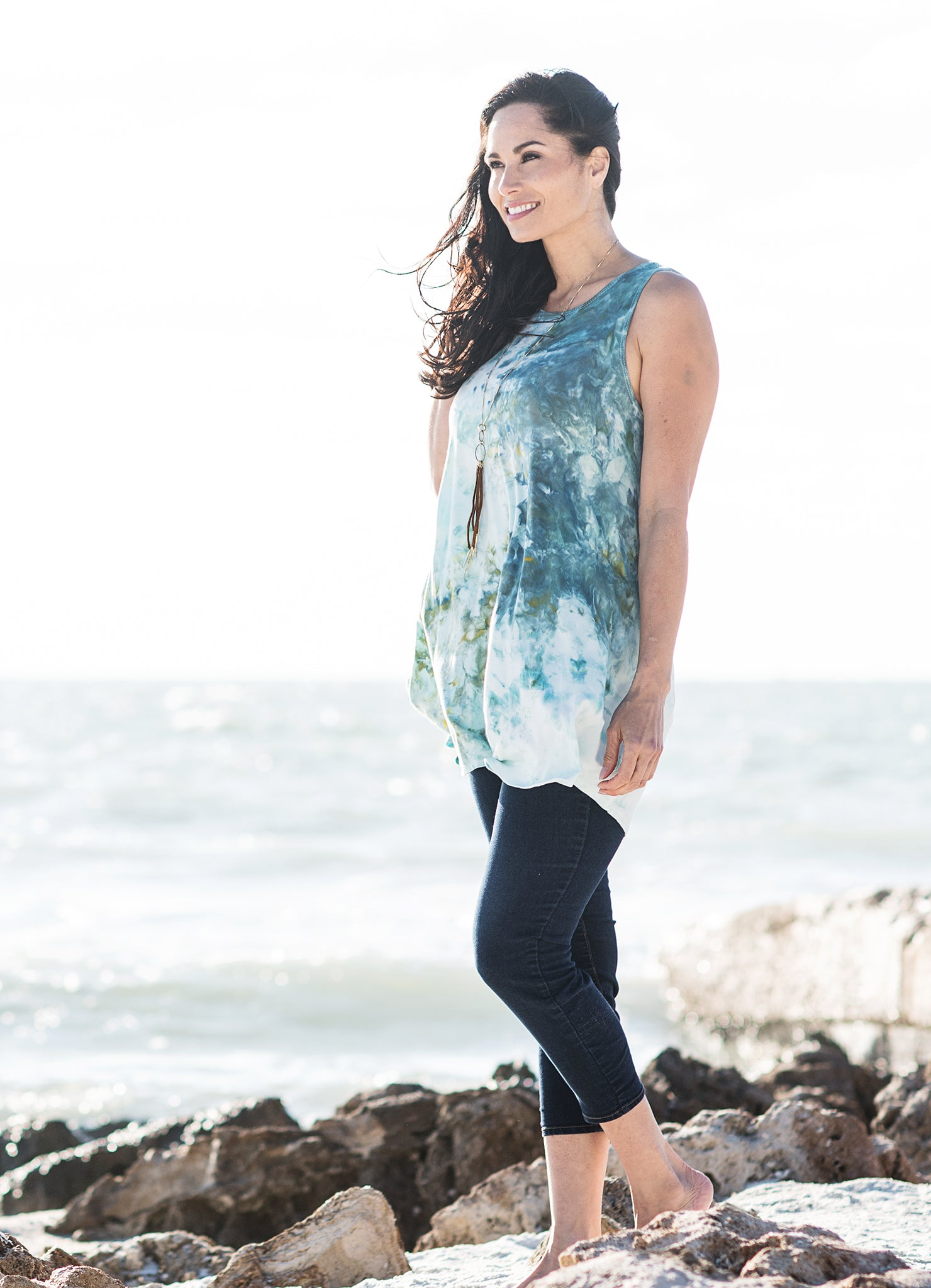 A-Line Tunic Tank in Sea Glass - Dyetology