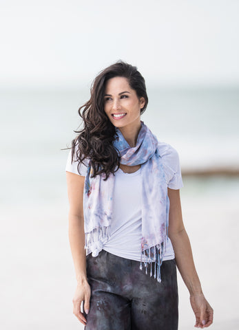 Oblong Scarf with Fringe in Sea Glass
