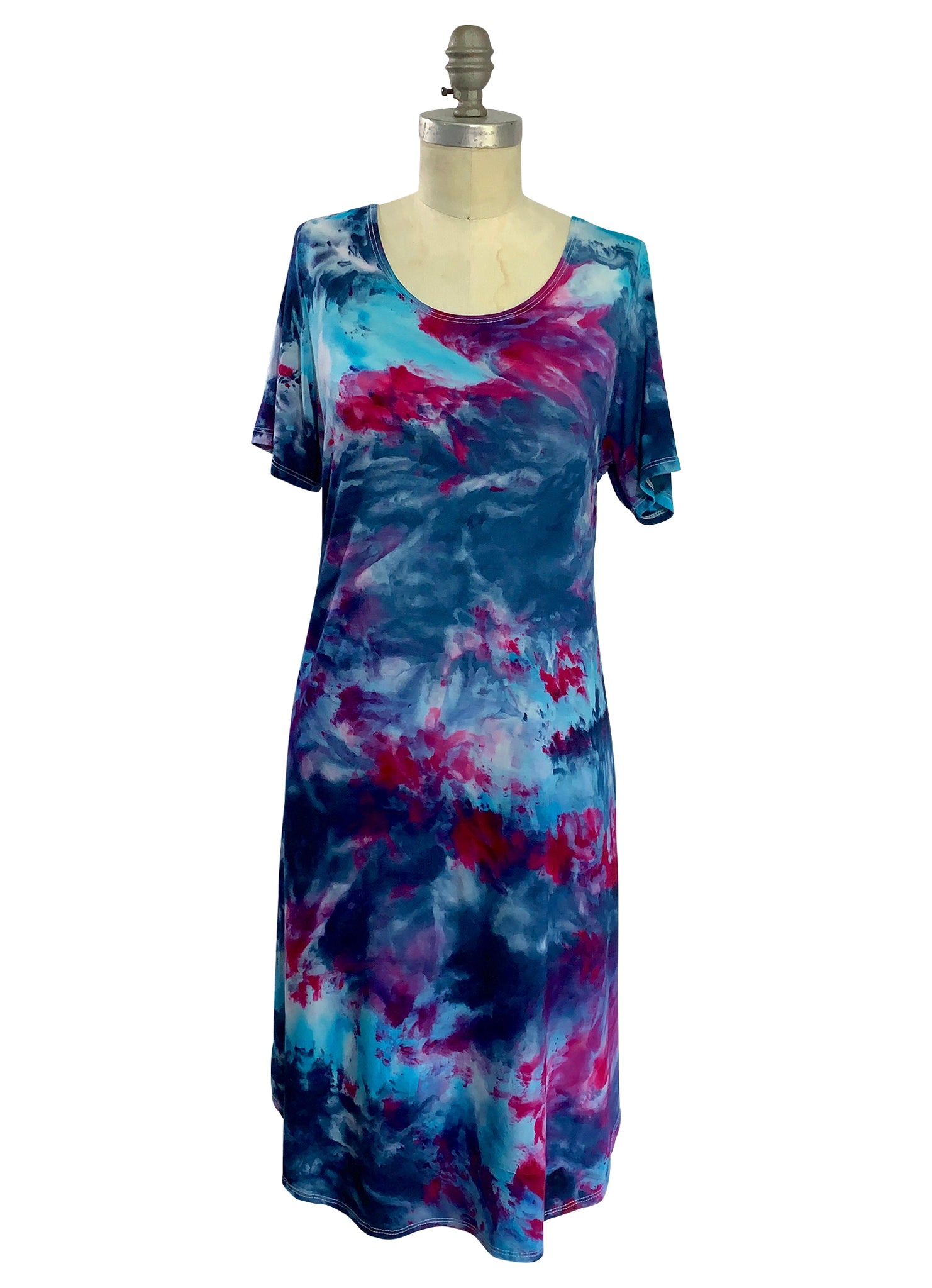The Perfect Short Sleeve Dress in Midnight Fuchsia - Dyetology